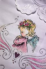 Detské oblečenie - košieľka na krst s anjelikom - ružová/strieborná - 7312358_