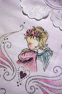 Detské oblečenie - košieľka na krst s anjelikom - ružová strieborná -  7312358  2b646871061