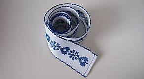 Úžitkový textil - Vyšívaná štóla na stôl srdiečko modré - 7312045_