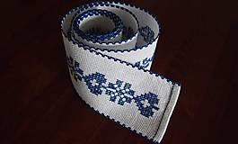 Úžitkový textil - Vyšívaná štóla na stôl srdiečko modré - 7312050_