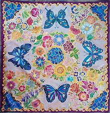 Šatky - V lete mojej mladosti-maľovaná hodvábna šatka s motýľmi - 7310656_
