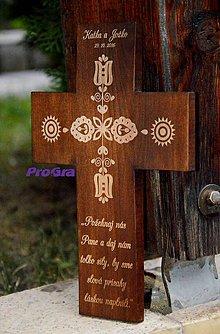 Dekorácie - Svadobný krížik Folk - 7309433_