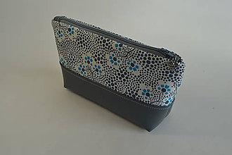 Taštičky - kozmetická taštička siva s kvietkami - 7309468_