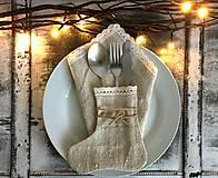 Úžitkový textil - Vianočné vrecúško a obal na príbor 4 kusy - 7310990_