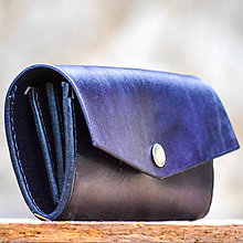 Peňaženky - Kožená dámska peňaženka Navy blue XXL (Modrá) - 7308981_