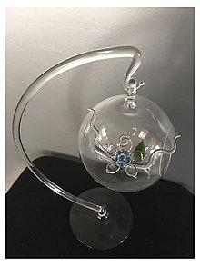 Nádoby - sklenená guľa s kvetinou - aerarium - 7315765_