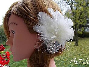 Ozdoby do vlasov - ivory svadobný fascinátor - 7313778_
