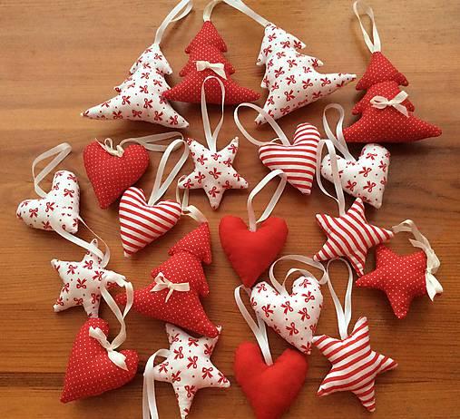 Vianočné ozdoby - bielo - červené Vianoce
