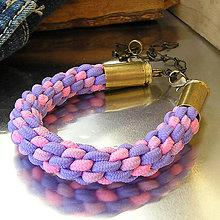 Náramky - pletený náramok s nábojnicami ružový - 7315799_