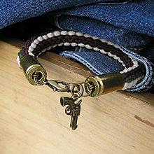 Šperky - pletený náramok s nábojnicami v army štýle - 7315969_