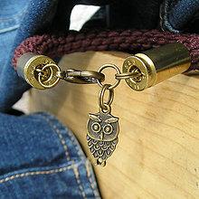 Šperky - pletený náramok s nábojnicami hnedý - 7316135_