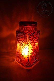 Svietidlá a sviečky - Boho svietnik červeno-zlatý