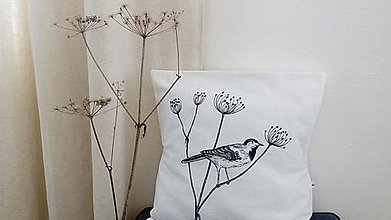 Úžitkový textil - Vankúš s ručnou perokresbou - vtáčik - 7314820_