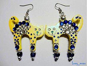 Náušnice - Náušničky mačičky žlto-modré :) - 7315342_