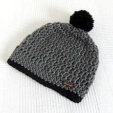 Doplnky - Šedo čierna zimná pánska čiapka - 7315484_