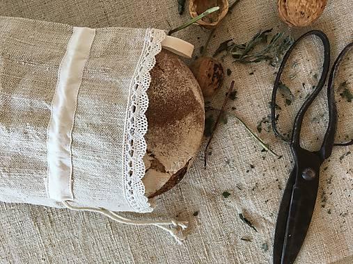 Vrecúško z ručne tkaného ľanu 48x30cm s uškom na zavesenie