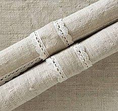 Úžitkový textil - Dekoračné prstienky na obrúsky z ručne tkaného ľanu 4 kusy - 7313185_