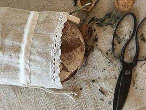 Úžitkový textil - Vrecúško z ručne tkaného ľanu 48x30cm s uškom na zavesenie - 7314698_