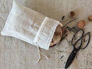 Úžitkový textil - Vrecko na chlieb z ručne tkaného ľanu 35x25 cm s uškom na zavesenie - 7314760_