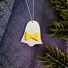 Dekorácie - Strieborné vianočné ozdoby s mašličkou - zvonček - 7314659_