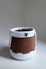 Košík - Biela hnedá gombík srdiečko