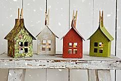 Dekorácie - Vianočné domčeky so svetielkami - 7320370_