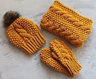 Rukavice - Rukavičky - palčiaky horčicové - 7316635_