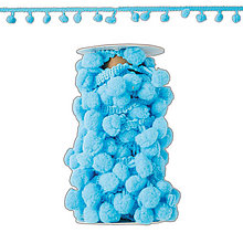 Galantéria - Pom Pom stužka 3m - Ice blue - 7318502_