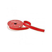 Galantéria - Stužka 3m Červená so zlatým lemom - 7318771_