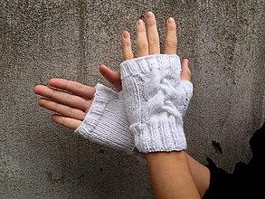 Rukavice - Rukavice biele s vrkočom - 7318448_