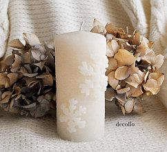 Svietidlá a sviečky - Flocon - smotanová sviečka - 7320155_