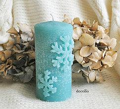 Svietidlá a sviečky - Flocon - modrá sviečka - 7320188_