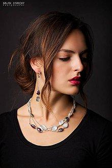 Náušnice - stříbrné dlouhé náušnice Harmony-rubíny v zoisitu - 7320006_