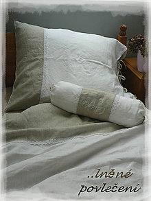 Úžitkový textil - Lněné povlečení shabby BLANC/NATUREL - 7318982_