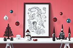 - Prekvapenie - Kúzelné Vianoce - čiernobiela ilustrácia / maľovanka - 7320403_