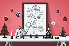 - Magická guľa - Kúzelné Vianoce - čiernobiela ilustrácia / maľovanka - 7320494_