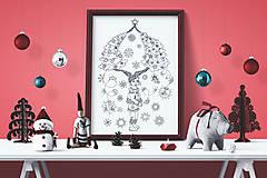 -  Zaľúbené stromy - Kúzelné Vianoce - čiernobiela ilustrácia / maľovanka - 7320515_