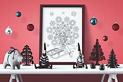 - Snehové vločky - Kúzelné Vianoce - čiernobiela ilustrácia / maľovanka - 7320520_