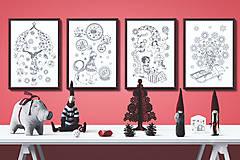 - Kúzelné Vianoce - Séria 4 plagátov - čiernobiele ilustrácie / maľovanky - 7320637_