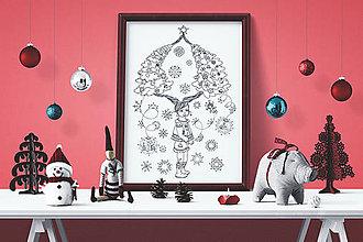 Grafika - Zaľúbené stromy - Kúzelné Vianoce - čiernobiela ilustrácia / maľovanka - 7320515_