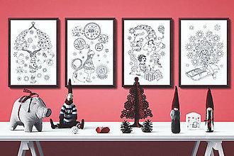 Grafika - Kúzelné Vianoce - Séria 4 plagátov - čiernobiele ilustrácie / maľovanky - 7320637_