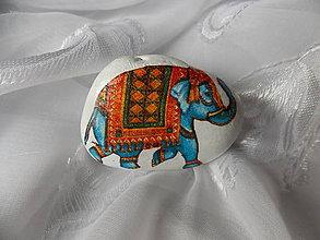 Dekorácie - Kamienok pre šťastie Modrý slon - 7322078_