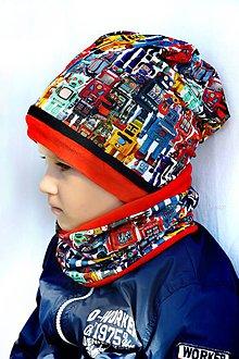 Detské súpravy - Zimná súprava roboti & red obojstranná - 7317128_
