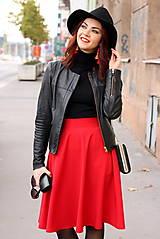 Sukne - Červená kruhová sukňa - 7319600_