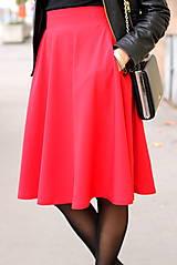Sukne - Červená kruhová sukňa - 7319610_
