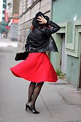 Sukne - Červená kruhová sukňa - 7319621_
