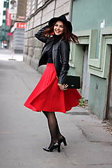 Sukne - Červená kruhová sukňa - 7319626_