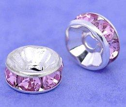 Korálky - Štrasová rondelka rúžová 8mm - 7318253_