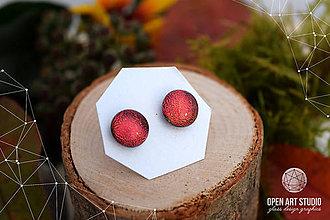 Náušnice - Zlatočervené cukrové jablká - sklenené náušničky - 7317108_