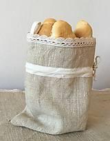Ľanové vrecko na rožky, bagety a pečivo s uškom na zavesenie35x22cm